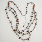 Long 36-inch Tigers Eye Labradorite Multi-Strand Swag Necklace Gemstone Jewelry