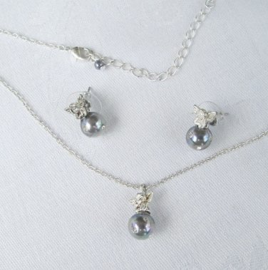 Delicate Angel Set Gray Pearls Rhinestones Pendant Necklace Post Earrings Vintage Jewelry
