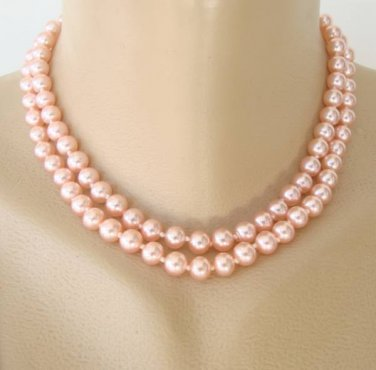 Japan Pink Glass Double Strand Necklace Rhinestone Clasp Vintage Jewelry
