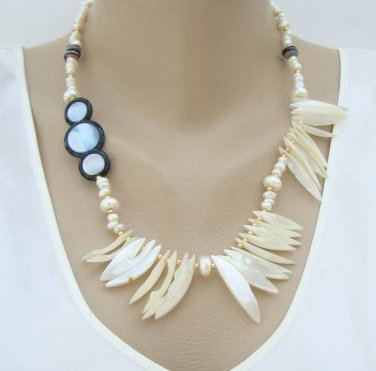 Asymmetrical MOP Fringe Necklace Pearls Disks Shark Tooth Shaped Jewelry