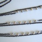 Flapper Length Double Strand Black Japanned Chain Necklace Silver Beads Vintage Jewelry
