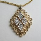 Diamond Shaped Rhinestone Pendant Necklace Sparkling Jewelry