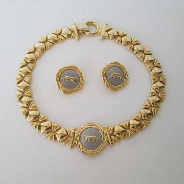 Lion Leopard Necklace Clip Earring Set Vintage Figural Animal Jewelry