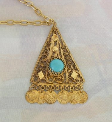 Art Deco Egyptian Revival Pendant Necklace Canetille Turquoise Vintage Jewelry