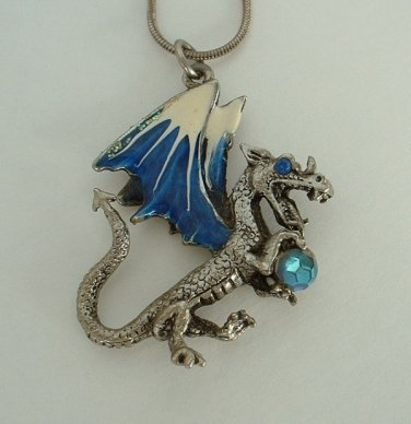 JP1 Dragon Pendant Necklace Blue Enamel Rhinestone Eye Round Snake Chain Jewelry