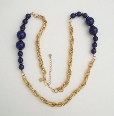 CN Signed Long Graduated Navy Blue Bead Chain Necklace Designer Jewelry