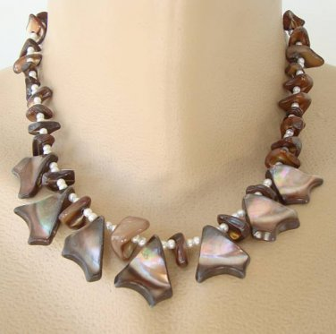 Iridescent Shell Pearl Fringe Necklace Vintage Jewelry