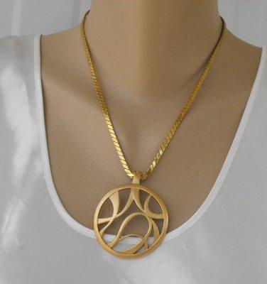 Retro Abstract Pendant Necklace Matt Goldtone Vintage Jewelry