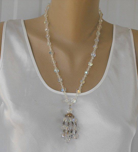 Crystal Waterfall Necklace AB Aurora Borealis Vintage Jewelry