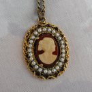 Cameo Pendant Necklace Seed Pearls Openwork Goldtone Frame Vintage Jewelry
