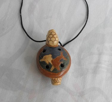 Mexican Turtle Whistle Pendant Necklace Handpainted Dolphins Vintage Jewelry
