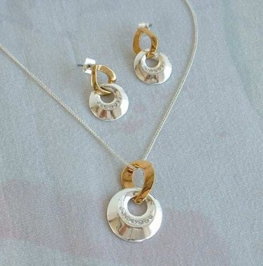 SAQ Pave Rhinestone Set Necklace Post Earrings Sparkling Delicate Jewelry