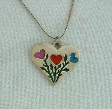 Heart Pendant Necklace Enameled Red Pink Blue Enamel Sweetheart Vintage Jewelry