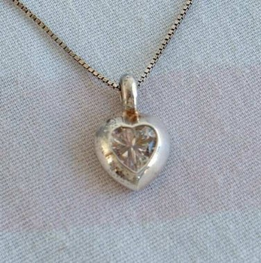 Crystal Heart on Sterling Silver Venetian Box Chain Pendant Necklace Vintage Jewelry