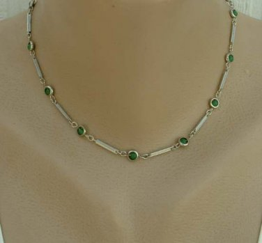 Atomic Geometric Choker Necklace Green Bead Station Links