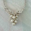 Avon Pearl Rhinestone Pendant Necklace Grapes Leaves Floral Jewelry