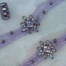 Givenchy Rhinestone Set Necklace Bracelet Clip Earrings Purple Lavender Designer Jewelry
