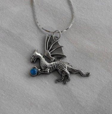 Dragon Necklace Sparkling Blue Stone Danecraft Chain Figural Jewelry