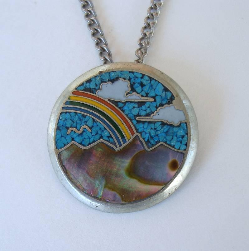 Cloisonne MOP Turquoise Pendant Necklace Ocean Scene Rainbow Clouds