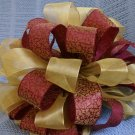 Wine Brocade & Gold Ribbons -Christmas Tree Topper Bow