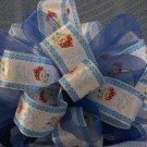 JOLLY SNOWMEN & SHEER BLUE RIBBONS - CHRISTMAS TREE TOPPER BOW