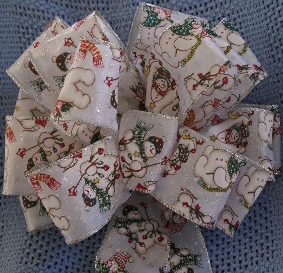 HOLIDAY SNOWMEN - CHRISTMAS WREATH, SWAG GARLAND OR PRESENT BOWS (3 BOWS/PACKAGE)