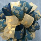 TEAL & GOLD HOLLY CHRISTMAS TREE TOPPER BOW