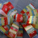 MULTI-COLORED STRIPED BOW W/ SNOW FLAKES - WREATH, SWAG, GARLAND OR PRESENT BOWS (3 BOWS/PACKAGE)