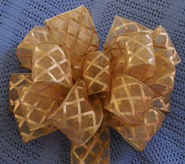 GOLD SHEER W/ DIAMOND DETAILING - CHRISTMAS WREATH, SWAG, GARLAND OR PRESENT BOWS (3 BOWS/PACKAGE)