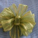 GREEN SHEER RIBBON - CHRISTMAS WREATH, SWAG, GARLAND OR PRESENT BOWS (3 BOWS/PACKAGE)