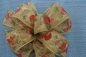 CORNUCOPIA OF HARVEST FRUIT - CHRISTMAS WREATH, SWAG, GARLAND OR PRESENT BOWS (3 BOWS/PACKAGE)