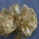 GREEN HOLLY AND RED BERRIES - CHRISTMAS WREATH, SWAG, GARLAND OR PRESENT BOWS (3 BOWS/PACKAGE)