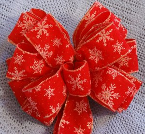 RED W/ SNOWFLAKES - CHRISTMAS WREATH, SWAG, GARLAND OR PRESENT BOWS (3 BOWS/PACKAGE)