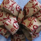 ELEGANT TAUPE AND RED VELVET - CHRISTMAS WREATH, SWAG, GARLAND OR PRESENT BOWS (3 BOWS/PACKAGE)