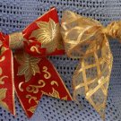 GOLD SHEER & GOLD POINSETTIA - ORNAMENT BOWS (12 BOWS/PACKAGE)