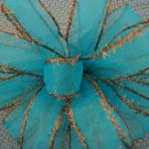 TURQUOISE AND BRONZE TINSEL - CHRISTMAS WREATH, SWAG, GARLAND OR PRESENT BOWS (3 BOWS/PACKAGE)