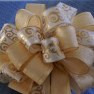 ELEGANT CRÈME AND GOLD SCROLL – DOUBLE CHRISTMAS TREE TOPPER BOW