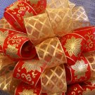 GOLD POINSETTIAS & GOLD SHEER RIBBON - DOUBLE CHRISTMAS TREE TOPPER BOW