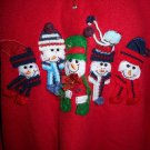 WHITE STAG WOMEN RED FLEECE UGLY CHRISTMAS HOLIDAY PULLOVER SNOWMAN SWEATSHIRT L