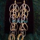 stunning exquisite beautiful silver golden earrings pair