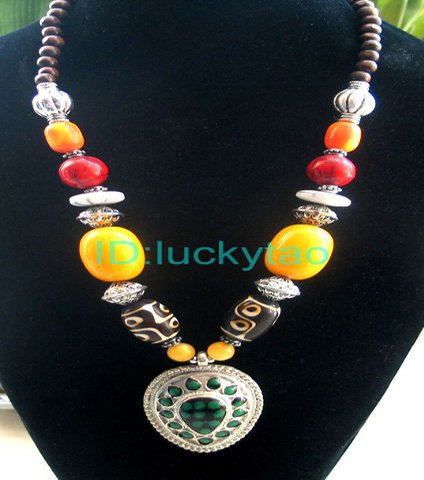 China Tibet Character yellow red refined necklace