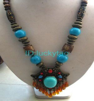 China Tibet character  Bronze  beads Necklace