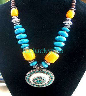 China Tibet Character  Colorful  beads silver necklace