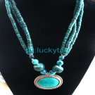 ChinaTibet Character Turquoise 2Rows Necklace