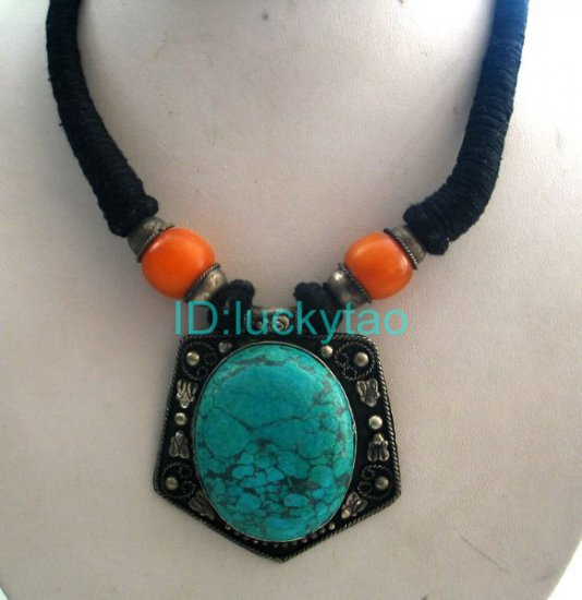 China Tibet   Amber Featured black rope Necklace