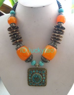 China Tibet Character  bronze and yellow beads silver necklace
