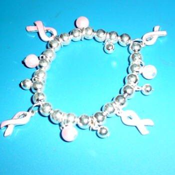 Cancer Charm Bracelet  Pink Pearls