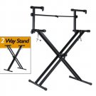 PARTYSAVING Pro Series Portable 2 Tier Doubled Keyboard Stand with Locking Straps APL1158, Two-Tier