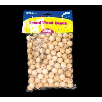 Wholesale BAZIC Round Natural Wood Beads (200/Pack)