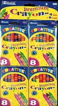Wholesale BAZIC 8 Color Premium Quality Crayon (4/Pack)